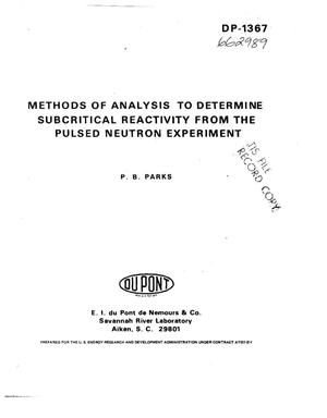 Primary view of object titled 'Method of analysis to determine subcritical reactivity from the pulsed neutron experiment'.