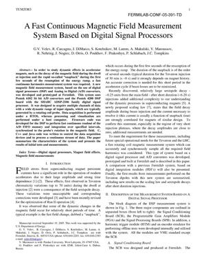 Primary view of object titled 'A fast continuous magnetic field measurement system based on digital signal processors'.