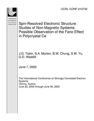 Primary view of object titled 'Spin-Resolved Electronic Structure Studies of Non-Magnetic Systems: Possible Observation of the Fano Effect in Polycrystal Ce'.