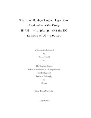 Primary view of object titled 'Search for doubly-charged Higgs Boson production in the decay H++ H-- ---> mu+ mu+ mu- mu - with the D0 detector at s**(1/2) = 1.96-TeV'.