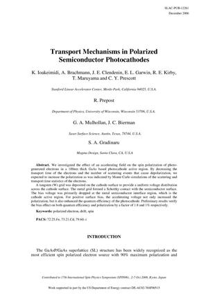 Primary view of object titled 'Transport Mechanisms in Polarized Semiconductor Photocathodes'.
