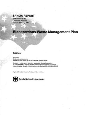 Primary view of object titled 'Biohazardous waste management plan.'.