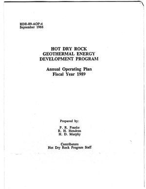 Primary view of object titled 'Hot dry rock geothermal energy development program: Annual operating plan, fiscal year 1989'.