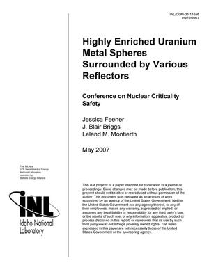 Primary view of object titled 'Highly Enriched uranium Metal Spheres Surrounded by Various Reflectors'.