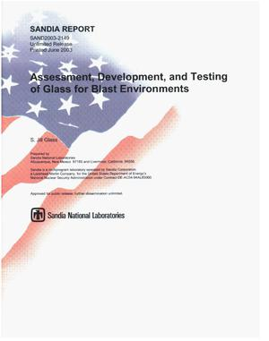 Primary view of object titled 'Assessment, development, and testing of glass for blast environments.'.