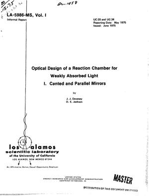 Primary view of object titled 'Optical design of a reaction chamber for weakly absorbed light. I. Canted and parallel mirrors (with an appendix for strongly absorbed light waves)'.