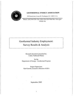 Primary view of object titled 'Geothermal industry employment: Survey results & analysis'.