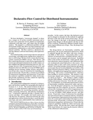 Primary view of object titled 'Declarative flow control for distributed instrumentation'.