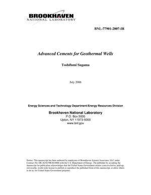 Primary view of object titled 'ADVANCED CEMENTS FOR GEOTHERMAL WELLS'.