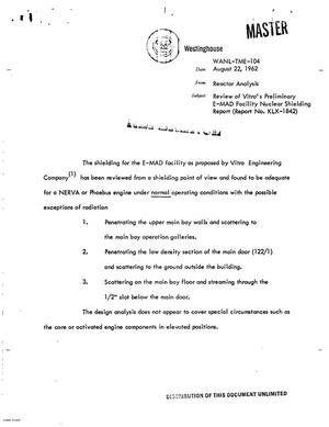 Primary view of object titled 'Review of Vitro's preliminary E-MAD facility nuclear shielding report'.