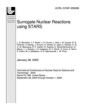 Primary view of object titled 'Surrogate Nuclear Reactions using STARS'.