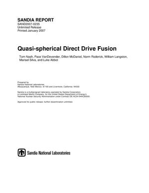 Primary view of object titled 'Quasi-spherical direct drive fusion.'.