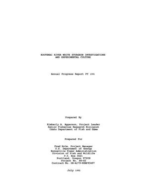 Primary view of object titled 'Kootenai River White Sturgeon Investigations and Experimental Culture, 1990-1991 Annual Report.'.