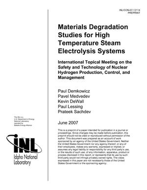 Primary view of object titled 'Materials Degradation Studies for High Temperature Steam Electrolysis Systems'.