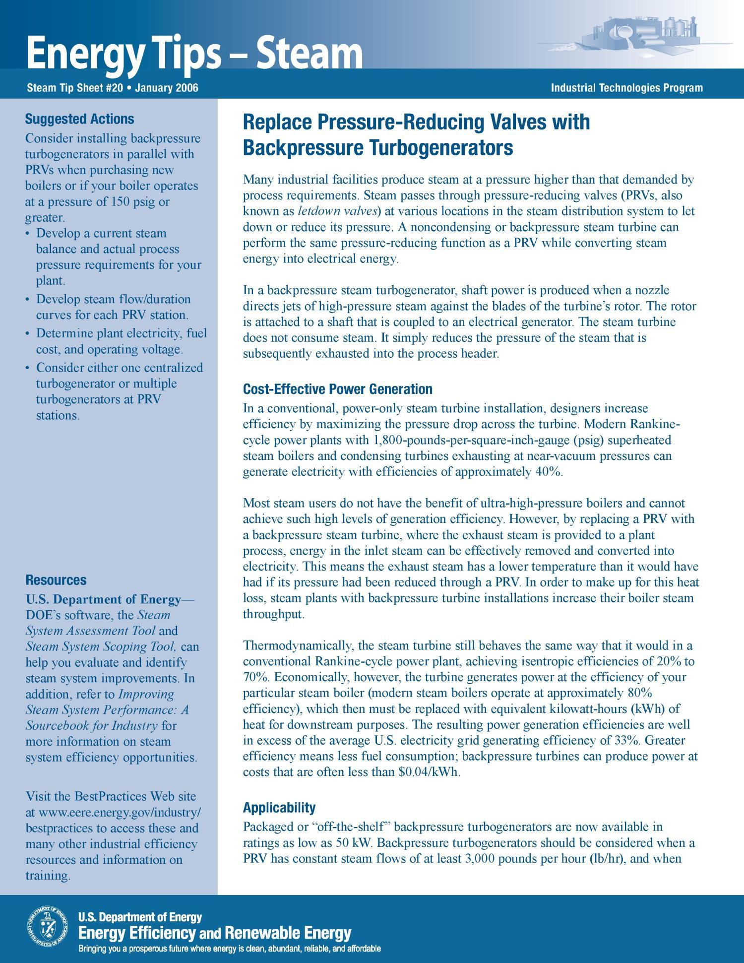 Replace Pressure Reducing Valves with Backpressure Turbogenerators
