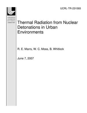 Primary view of object titled 'Thermal Radiation from Nuclear Detonations in Urban Environments'.