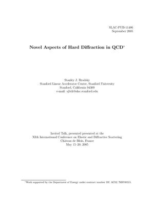 Primary view of object titled 'Novel Aspects of Hard Diffraction in QCD'.