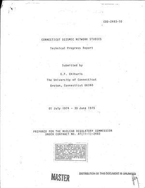 Primary view of object titled 'Connecticut seismic network studies. Technical progress report, 1 July 1974--30 June 1975'.