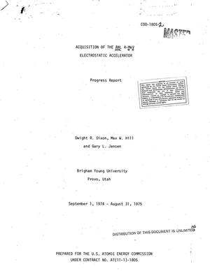 Primary view of object titled 'Acquisition of the ANL 4-MeV electrostatic accelerator. Progress report, September 1, 1974--August 31, 1975'.