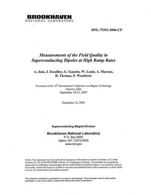 Primary view of object titled 'MEASUREMENTS OF THE FIELD QUALITY IN SUPERCONDUCTING DIPOLES AT HIGH RAMP RATES.'.