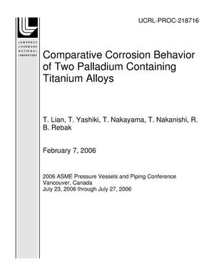Primary view of object titled 'Comparative Corrosion Behavior of Two Palladium Containing Titanium Alloys'.