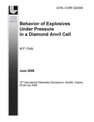 Primary view of object titled 'Behavior of Explosives Under Pressure in a Diamond Anvil Cell'.
