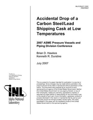 Primary view of object titled 'ACCIDENTAL DROP OF A CARBON STEEL/LEAD SHIPPING CASK AT LOW TEMPERATURES'.