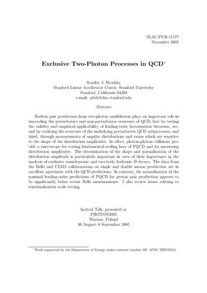 Primary view of object titled 'Exclusive Two-Photon Processes in QCD'.