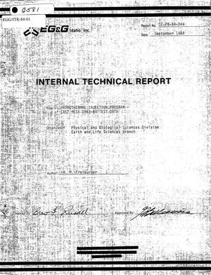 Primary view of object titled 'Internal Technical Report, Hydrothermal Injection Program - East Mesa 1983-84 Test Data'.