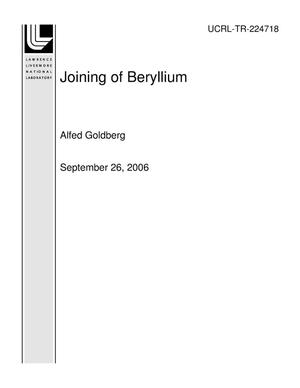 Primary view of object titled 'Joining of Beryllium'.