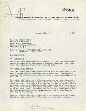 Primary view of object titled 'Preliminary Studies of Scavenging Systems Related to Radioactive Fallout. Letter Report No. 10 for October 1 to December 1, 1959'.