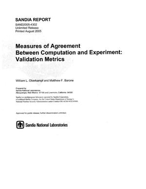 Primary view of object titled 'Measures of agreement between computation and experiment:validation metrics.'.