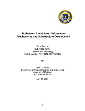 Primary view of object titled 'Ruthenium Aluminides: Deformation Mechanisms and Substructure Development'.