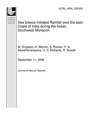 Primary view of object titled 'Sea breeze Initiated Rainfall over the east Coast of India during the Indian Southwest Monsoon'.