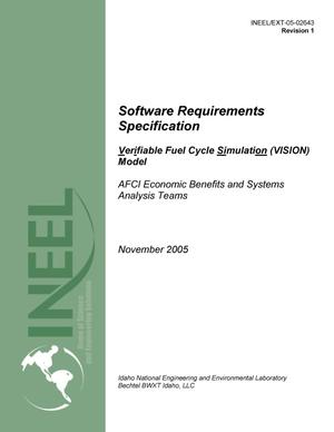 Primary view of object titled 'Software Requirements Specification Verifiable Fuel Cycle Simulation (VISION) Model'.