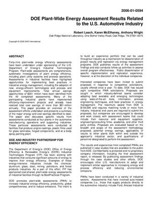 Primary view of object titled 'DOE PLANT-WIDE ENERGY ASSESSMENT RESULTS RELATED TO THE U. S. AUTOMOTIVE INDUSTRY'.