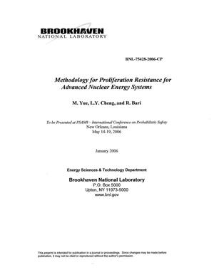 Primary view of object titled 'MEHODOLOGY FOR PROLIFERATION RESISTANCE FOR ADVANCE NUCLEAR ENERGY SYSTEMS.'.
