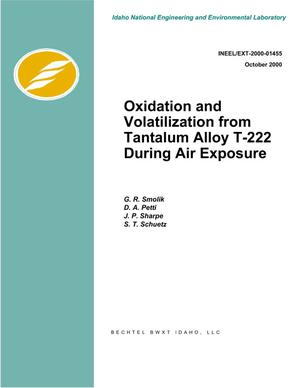 Primary view of object titled 'Oxidation and Volatilization from Tantalum Alloy T-222 During Air Exposure'.