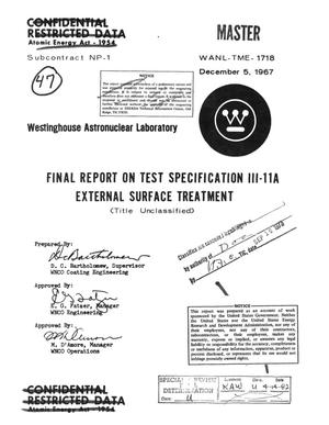 Primary view of object titled 'Final report on test specification III-11A external surface treatment'.