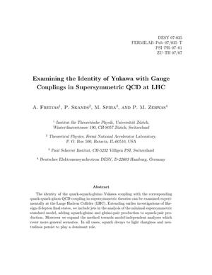 Primary view of object titled 'Examining the identity of Yukawa with gauge couplings in supersymmetric QCD at LHC'.