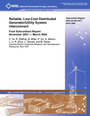 Primary view of object titled 'Reliable, Low-Cost Distributed Generator/Utility System Interconnect: Final Subcontract Report, November 2001-March 2004'.
