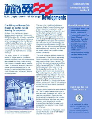Primary view of object titled 'Building America Developments, September 2000, Information Bulletin Number 1 (Revised)'.