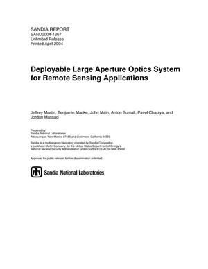 Primary view of object titled 'Deployable large aperture optics system for remote sensing applications.'.