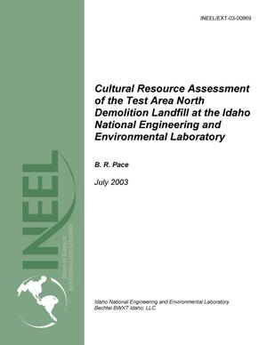 Primary view of object titled 'Cultural Resource Assessment of the Test Area North Demolition Landfill at the Idaho National Engineering and Environmental Laboratory'.