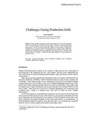 Primary view of object titled 'Challenges facing production grids'.