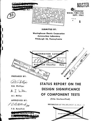 Primary view of object titled 'Status report on the design significance of component tests'.