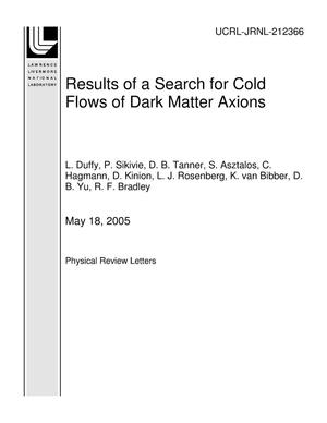 Primary view of object titled 'Results of a Search for Cold Flows of Dark Matter Axions'.