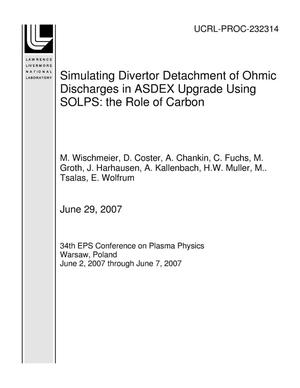 Primary view of object titled 'Simulating Divertor Detachment of Ohmic Discharges in ASDEX Upgrade Using SOLPS: the Role of Carbon'.