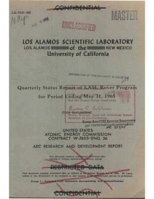 Primary view of object titled 'Quarterly status report of LASL Rover program for period ending May 31, 1965'.