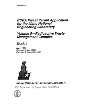Primary view of object titled 'RCRA Part B Permit Application for the Idaho National Engineering Laboratory - Volume 5 Radioactive Waste Management Complex'.